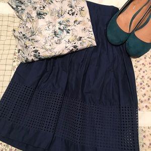 NWT Talbots skirt, PLX, navy blue lattice detail